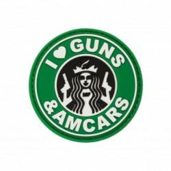 Naszywka I LOVE GUNS & AMCARS (velcro)