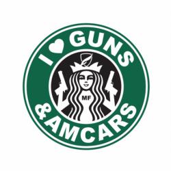 Naklejka I LOVE GUNS & AMCARS