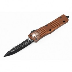 Microtech 142-3TA TAN COMBAT TROODON D/E OTF AUTO KNIFE, FULL SERRATED BLACK BLADE