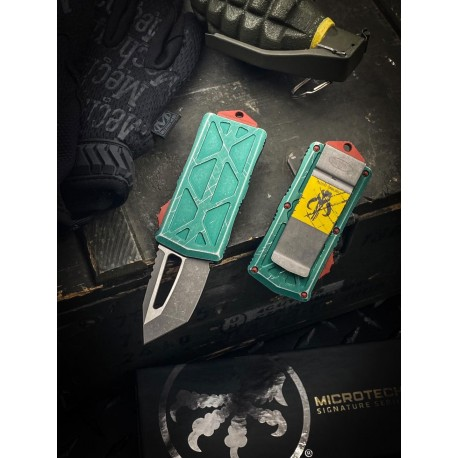 Nóż Microtech 158-10BH Exocet Bounty Hunter OTF, Apocalyptic  Blade, Green Apocalyptic Handles - dostawa MARZEC 2021
