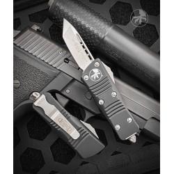 "Nóż Microtech 240-10 Troodon Mini OTF AUTO Knife 1.99"" Stonewashed Tanto Blade, Black Aluminum Handles"